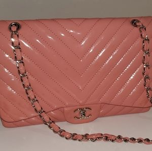 Stunning Classic Flap Quilted Chevron Jumbo Chanel